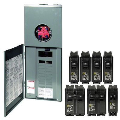 Homeline 200 Amp 20 Space 40 Circuit Outdoor Ring Type Overhead Service Surface In 2020 Circuit Breakers Electrical Panel
