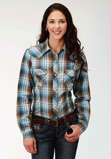 7933ef1e89c Roper+Ladies+Turquoise+and+Brown+Plaid+Shirt | WESTERN SHIRTS ...