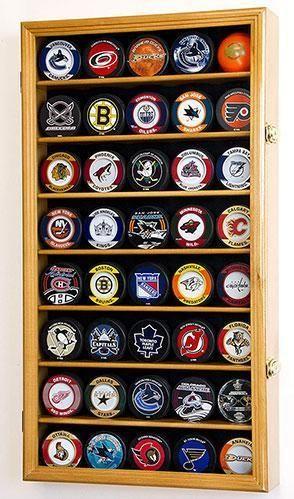 40 Hockey Puck Display Case Cabinet Holder Rack 98 Uv Oak Finish In 2020 Hockey Puck Display Hockey Puck Hockey Pucks Crafts