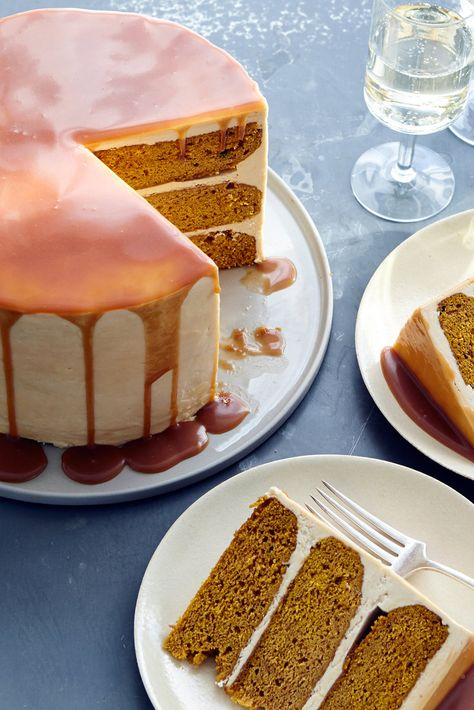 NYT Cooking: Warmly spiced pumpkin cake and toasty caramel are a natural pair in this fall showstopper. The cake is light and fluffy with just enough spice to highlight the pumpkin flavor, while a generous pour of caramel sauce between the layers adds richness. (Store-bought caramel sauce will also work, but expect a slightly sweeter result.) For an impressive presentation, top the frosted cake with a bit m...