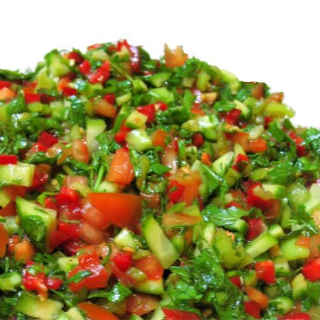 Turkish Shepherd's Salad -- add some bulgar and you would have Tabouleh.  This truly is one of my favorites.