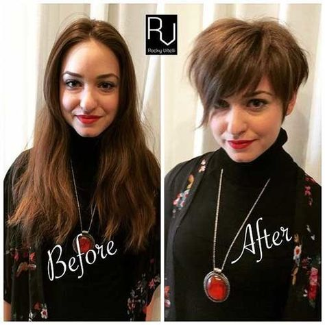 Pixie-Hair-with-Bangs Before and After Pics of Short Haircuts