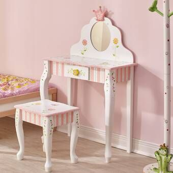 Wildkin Vanity Set With Mirror Reviews Wayfair Vanity Set With Mirror Girls Vanity Little Girl Vanity