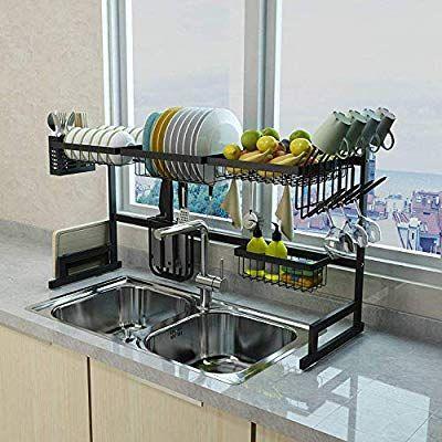 Amazon Com Xue Shelf 65 Dish Drainer Holder Black Stainless Steel Kitchen Rack Garden Outdoor Kitchen Space Savers Kitchen Sink Accessories Kitchen Space