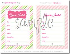 Lilys Luncheon Printable Party Set from printablepartyshop.com    invitation pink and green bridal shower, baby shower, birthday