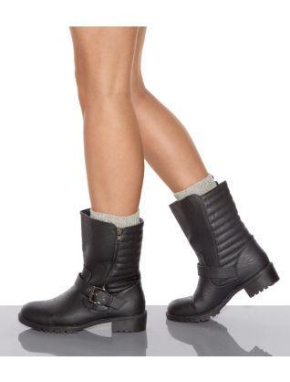 Black (Black) Black Quilted Buckle Biker Boots | 299756901 | New ... : quilted biker boots - Adamdwight.com