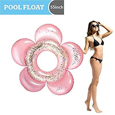 """Fun Beach Floaties JOYIN Giant Inflatable Rainbow Pool Float with Glitter Inside 46/"""" x 44/"""" x 13.75/"""" Swim Party Toys Summer Pool Raft Lounger for Adults /& Kids"""