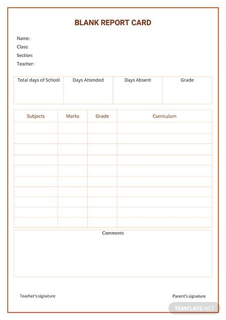 Free Blank Report Card Template Pdf Word Doc Apple Mac Pages Google Docs Report Card Template School Report Card Report Card