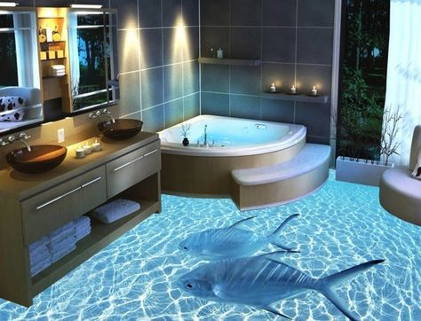 13 3d Bathroom Floor Designs That Will Mess With Your Mind Ocean Bathroom Bathroom Flooring Floor Design