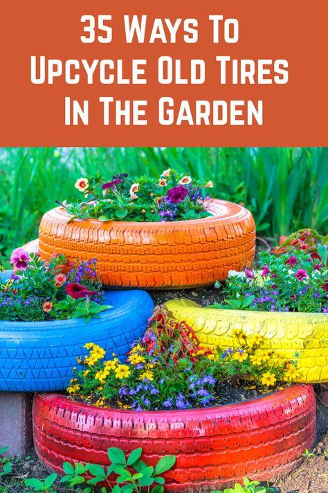 Tire Garden, Garden Sofa, Garden Planters, Old Tire Planters, Tire Pond, Pallet Planters, Pallet Fence, Veg Garden, Planter Ideas