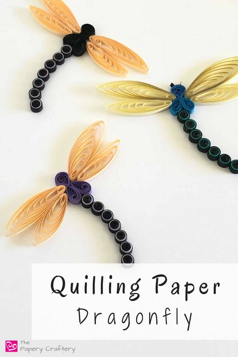 Quilling Paper Dragonfly ~ Make your own flittering, flying summertime bug! Neli Quilling, Quilling Butterfly, Paper Quilling Earrings, Paper Quilling Cards, Quilling Comb, Paper Quilling Flowers, Paper Quilling Patterns, Quilled Paper Art, Quilling Craft
