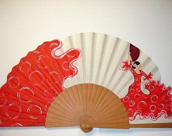 Spanish fan//hand-painted fan//flamenco fan//wood fanFlamenco passion