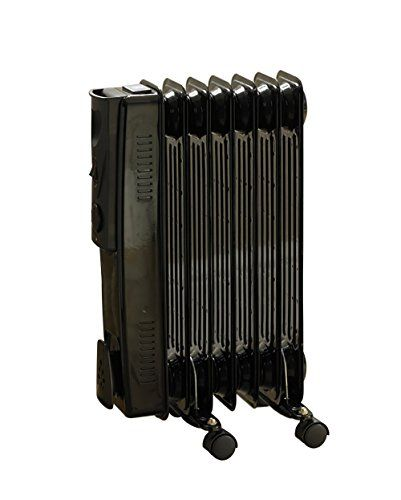 Kingfisher 7 Fin Oil Filled Radiator Heater Black And White With 3 Settings 600w 900w 1500w Oil Filled Radiator Radiator Heater Radiators