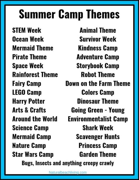 30+ Summer Camp Themes - The Best Summer Themes for Kids - Natural Beach Living