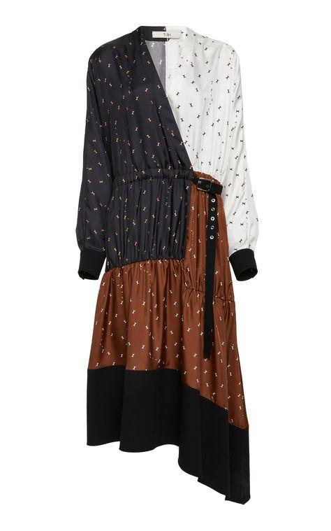 Patchwork Wrap Crepe Midi Dress by TIBI Now Available on Moda Operandi