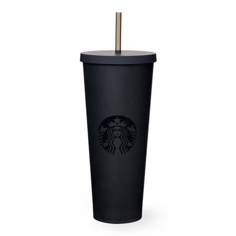 starbucks Acrylic Cold Cup - Matte Black, 24 fl oz A sturdy, Venti-size plastic Cold Cup in matte black featuring a soft hand feel and reusable straw. Copo Starbucks, Starbucks Tumbler, Starbucks Drinks, Starbucks Cup Sizes, Starbucks Water Bottle, Starbucks Venti, Tumblr Cup, Black Siren, Cute Water Bottles