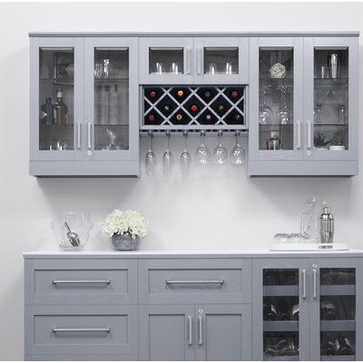 Home Bar Shaker Style Back Bar with Wine Storage # diy wine rack above fridge Bars & Bar Sets Diy Home Bar, Modern Home Bar, Bars For Home, Home Wine Bar, Wine Rack Inspiration, Wine Storage Cabinets, Kitchen Cabinets With Wine Rack, Bar Cabinets For Home, Bar In Kitchen