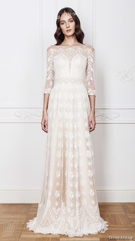 divine atelier 2016 bridal gowns scalloped sheer off the shoulder plunging sweetheart neckline 3 quarter sleeves fully embellished bohemian lace sheath wedding dress sheer back (aimee) mv