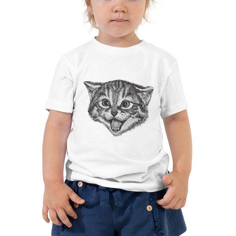 funny Cat kitten kitty pet cute Face kids child baby Toddler cotton Short Sleeve Tee