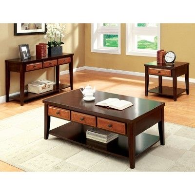 Sun Pine Rita Two Tone 3 Drawer Coffee Table Dark Oak Cherry Redwood Brown