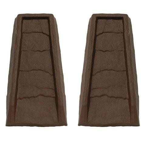 Master Mark Block Chocolate Gutter Down Spout Splash 2 Pack 32924 The Home Depot Gutter Splash Blocks Spout