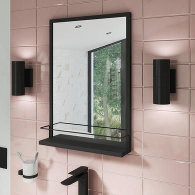 500 X 700mm Rectangle Black Frame Mirror With Shelf Iona Better Bathrooms The Effective Pictures We In 2020 Black Mirror Frame Mirror With Shelf Amazing Bathrooms