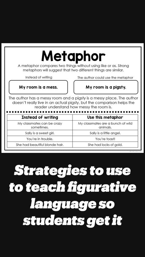 Strategies to use to teach figurative language so students get it