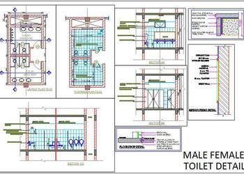 Ladies and Gents Public toilet working drawing - Autocad DWG