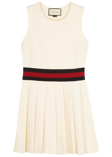 ec4597f23a7 GUCCI off white pleated jersey dress
