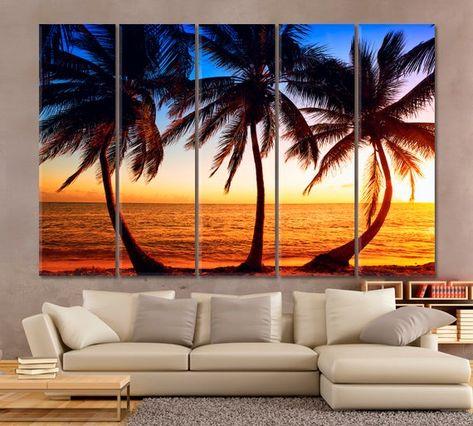 Palm Canvas Beach Print Palm Print Sea Print Beach Wall Decor