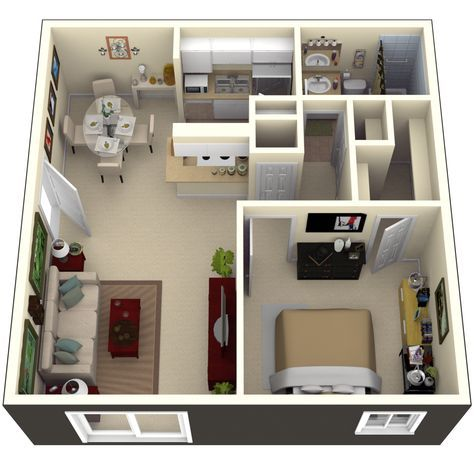 Pin By Miroslava On House Concept One Bedroom House Home Design Floor Plans Small House Plans