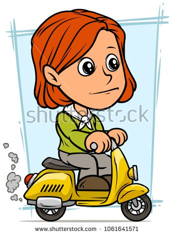 Cartoon White Cute Smiling Flat Redhead Girl Character Riding On