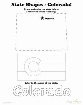 Trace And Color State Shapes Colorado Colorado State Flag