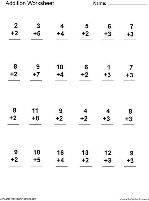 Addition 1st Grade Printable First Grade Math Worksheets