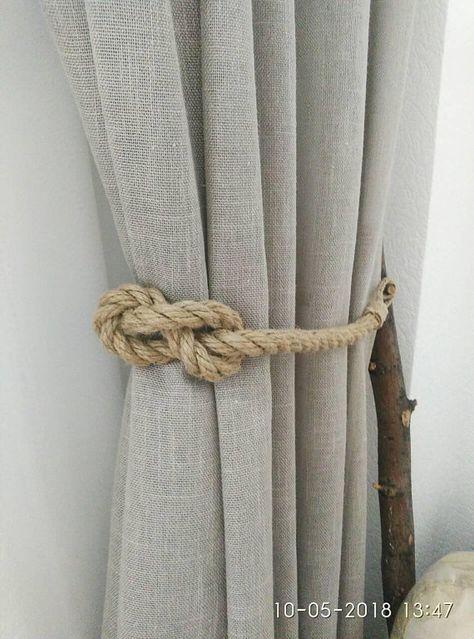 Jute Rope Curtain Tiebacks Nautical Tiebacks Rope Curtain Tie Backs Rope Curtain Holder Nautical Decor Rope