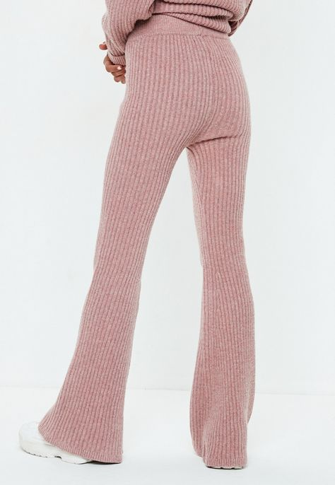 Petite Pink Ribbed Knitted Co Ord Pants   Missguided