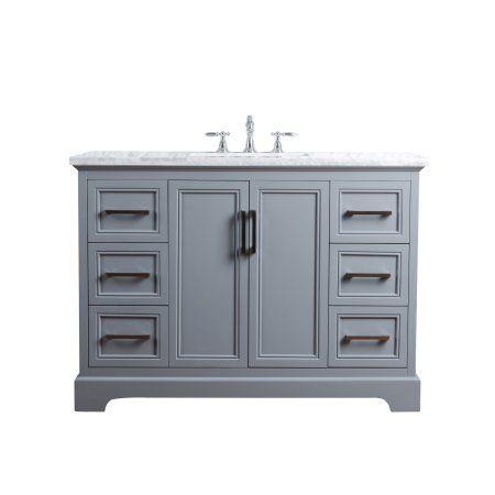 Stufurhome Ariane 48 Inches Slate Gray Single Vanity Cabinet
