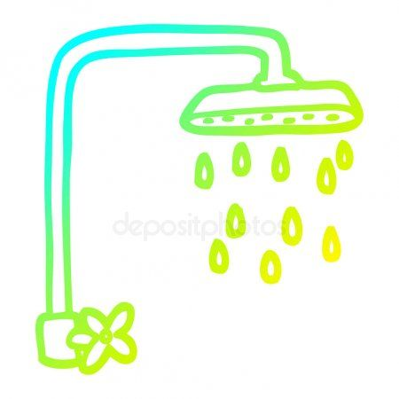 Cold Gradient Line Drawing Cartoon Shower Head Stock Vector
