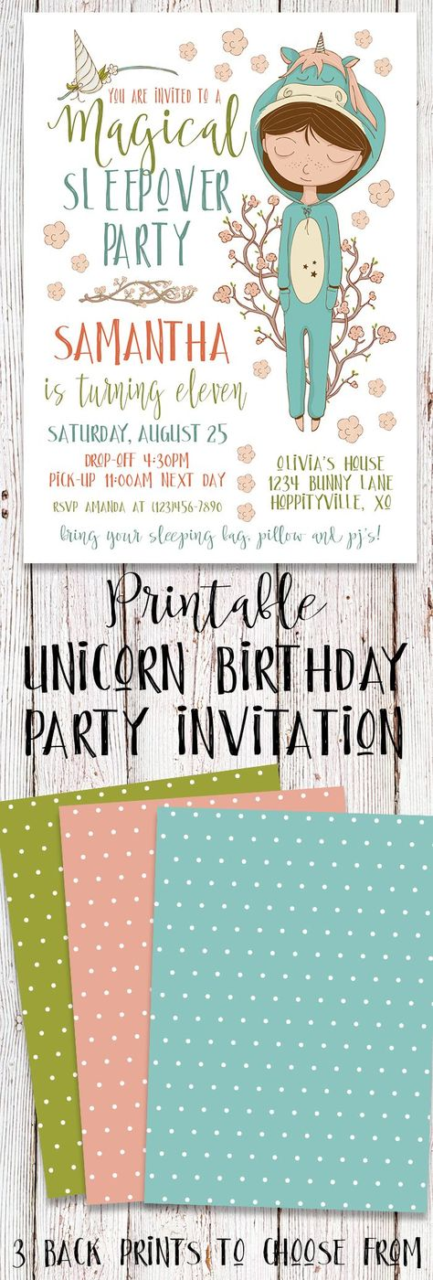 List Of Pinterest Sleepover Party Invitations For Girls Etsy Images