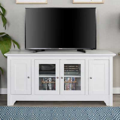 Modern White 52 Tv Stand With Glass Doors Tv Stand With Glass Doors Furniture White Tv Stands
