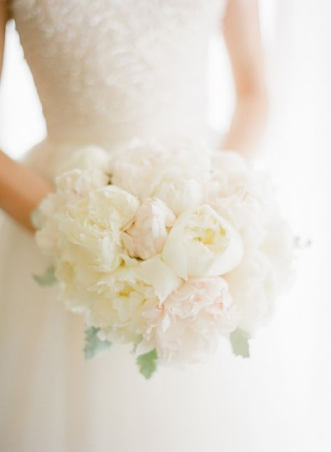 Perfect Peony Bouquet -- Gorgeous indoor wedding ! See more here: http://www.StyleMePretty.com/2014/03/13/glamorous-ballroom-wedding-in-naples-florida/ Photography: KTMerry.com
