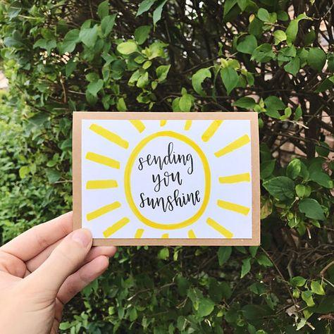 Sending You Sunshine Card - Handmade Rustic Calligraphy Card with Yellow Sun - Single Card Diy Cards, Your Cards, Paper Cards, Calligraphy Cards, Calligraphy Birthday Card, Mail Art Envelopes, Envelope Art, Envelope Design, Pen Pal Letters