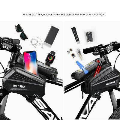 WILD MAN Bicycle Phone Bag MTB Bike Front Frame Touch Screen Hard Shell Bag