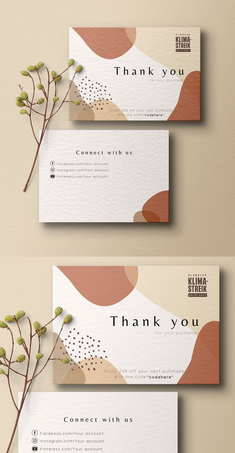 Thank you for your order cards, Business Stationery, Business card, thank you card, business branding, complementary slip, note card