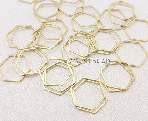 Vintage 12x12mm 10 Honeycomb Pendants Gold Plated Brass