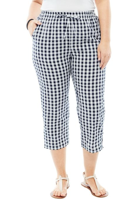 Petite Seersucker Capri Pants Women S Plus Size Clothing Navy