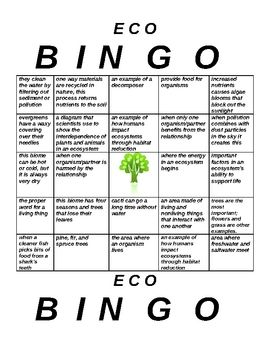 Need a fun way to help students review ecosystems vocabulary? This bingo game includes 5 different game cards. Key vocab words and concepts include...