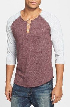 98d9020c Alternative Apparel Trim Fit Heathered Raglan Henley on shopstyle.com | A  contrasting color highlights