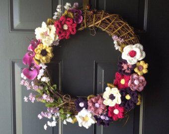 Front door wreath with beautiful crochet flowers, summer wreath