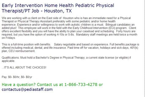 Hot Job School based Physical Therapist \u2013 Palatine, IL Pediatric - physical therapist job description